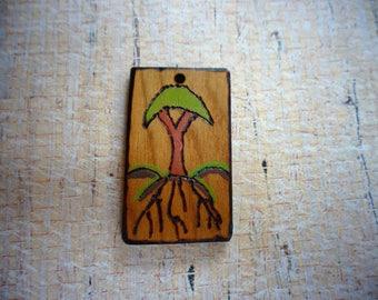 Pyrography Pendant - Painted Tree Pendant - Painted Pendant - Woodburned Pendant - Handmade Pendant - Rectangular