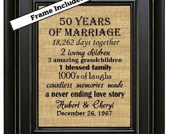 FRAMED 50th Wedding Anniversary/50th Anniversary Gifts/50th Wedding Anniversary Gifts/50 years of Marriage/Gold Anniversary Gift/Burlap Art