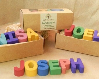 5 letter - Earth Friendly Name Crayons!  Gift Ready Box with Personalized Label. Easter Basket, Birthdays, Favors, Flower Girl & Ring Bearer