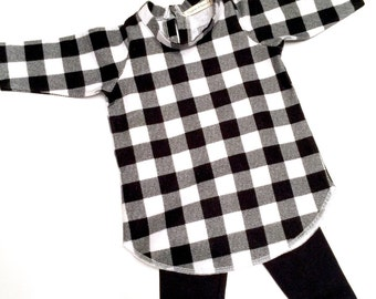 Baby/toddler /child  girl tunic top - tunic dress - buffalo plaid flannel - infant -toddler - shirt - top -child -multiple sizes