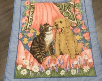 Cute Dog & Cat Quilted Picture Panel Throw with Soft Baby Blue Fleecy Backing