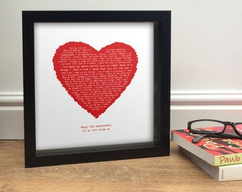 KODALINE THE ONE inspired personalised print - your song in a vintage style heart - fully framed poster - Valentine's Gift