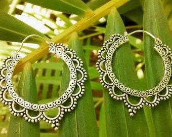 German silver hoop earrings - Tribal flower petal design