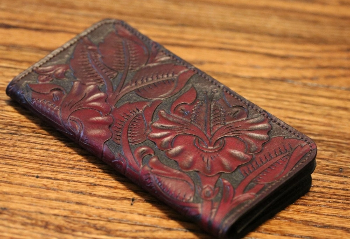 Leather long wallet lady hand carved and