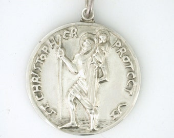 St. Christopher Sterling Silver Pendant Medallion circa 1958 SS10051