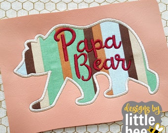 Papa Bear applique: silhouette applique mom dad baby design. machine embroidery 4x4 5x7 Instant Download! *102116