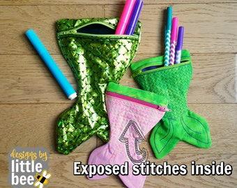 Mermaid Tail, mermaid love ITH zipper bag - scale stitching - project machine embroidery design - 4x4 5x7 6x10 8x12 - 05 12 2017