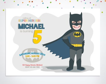 Superhero Invitation, Batman Party Invitation