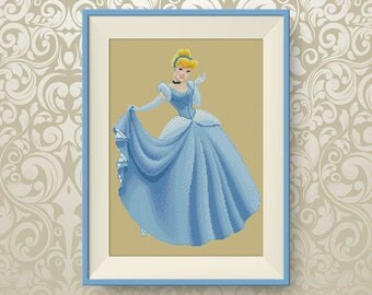 BUY 2, GET 1 FREE! Cinderella cross stitch pattern, Instant Download, Disney Princesses cross stitch pattern, pdf counted cross stitch,#P084