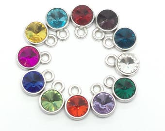 12pcs Mix Birthstone Round 10mm Diameter Tibetan Silver Charms - You Pick