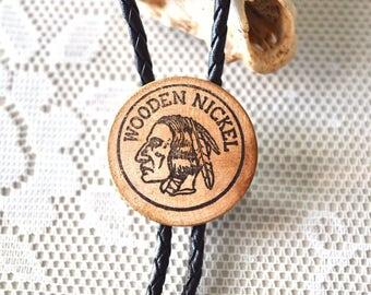 Wooden Nickel Bolo Tie