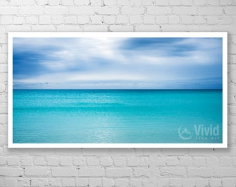 Minimalist wall art, aquamarine decor, sea photography, panoramic art print, framed pictures, matted 8x10, 20x36 10x18 16x28, tranquilly