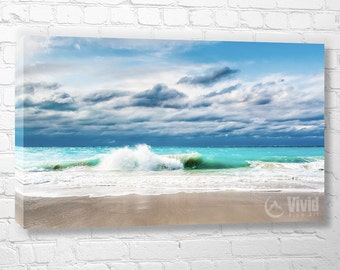 Ocean Photography, white sand beach, wall art canvas, Turks and Caicos, turquoise water, caribbean surf photo, teal, aqua, beach wall decor