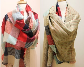 Sale! New Lady Blanket Oversized Tartan Scarf Wrap Shawl Double Sided Blue Red Checked