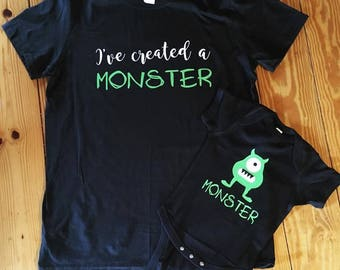 Mommy and Me Monster set - created a monster tee onesie set