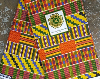 African print cotton fabric with yellow kente cloth design, sold by the yard from Senegal, West Africa
