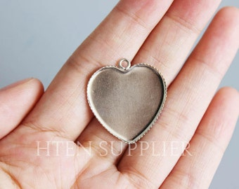 100pcs25mm tooth Heart-shaped stainless steel Pendant Blank Heart-shaped Pendant Setting ...