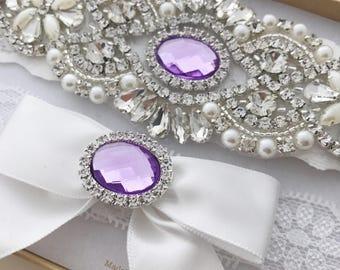 Lavender Wedding Garter Set, Lavender Bridal Garter Set, Light Purple Garter Set, Crystal Pearl Garter, Vintage Garter, Lilac Garter Set