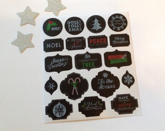Christmas chalkboard labels, Christmas stickers, gift tags, chalkboard tags