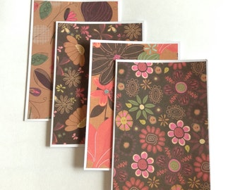 Flower Card set, blank cards, any occasion,  floral cards, birthday cards, stationery, patterned cards, gift cards, note cards