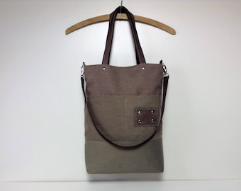 Grey bag,Tote bag,Messenger bag, Canvas bag, Canvas tote bag, Bag with pockets,School bag,Shoulder bag,brown bag,Woman bag,City bag