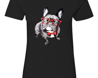 French Bulldog With Glasses Womens Short Sleeve Tee T Shirt Top