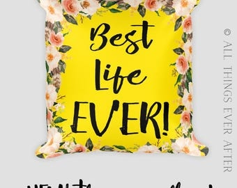 JW | Best Life Ever Floral Square Throw Pillow  | JW | SKE Gift Present | Home Decor | Pioneer | Elder's | Mustard  World Map | Coral