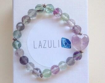 Flourite and Amethyst. Healing crystal. Heart bracelet. Flourite bracelet. Gift for her.