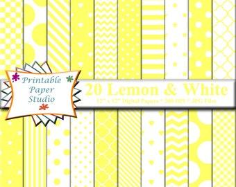 Lemon Yellow Digital Paper Pack, 12x12 Yellow Scrapbook Paper for Cardmaking, Instant Download Digital File, Yellow Patterned Paper