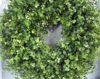 XL Extra Full Handmade Green Boxwood/Eucalyptus Wreath Everyday Wreath Spring Wreath Summer Wreath Front Door Wreath