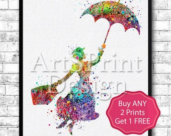 Mary Poppins 2 Watercolor Print llustrations Kid's Room Wall Poster Giclee Wall Decor Home Decor Wall Hanging Mary Poppins Art Poster Print