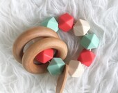BLACK FRIDAY SALE Baby Gift Natural Teether Organic Baby Toy Coral Mint Teether Infant Teether Wooden Teether Silicone Teether Sensory Teeth