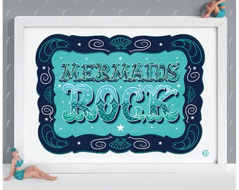 Mermaids Rock Print
