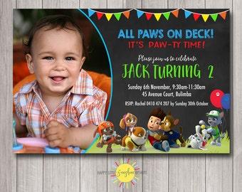 Paw Patrol Custom Printable Boy Birthday Photo Invitation Any Age 1st Birthday