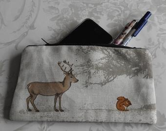 Harris Tweed Deer & Squirrel Pencil Case