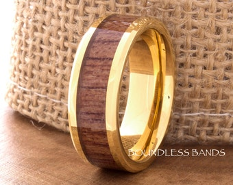 Tungsten Ring Yellow Gold Plated Wood Inlay Wedding Band 8mm Polished Tungsten Band Hers His Womens Mens Ring Hawaiian Koa Wood Comfort Fit