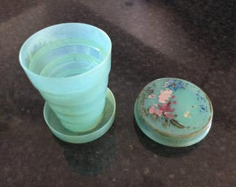 COLLAPSABLE Vintage Cup/Glass with Pill Keeper    Portable Pill Box Cup  Travel Cup