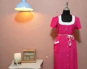 Pink Robe.Pajamas.robe.Vintage robe.Mix Color Flower Print Vintage Robe For Women 1980s.Vintage dress.Robes.80's Robe.Vintage Pajamas