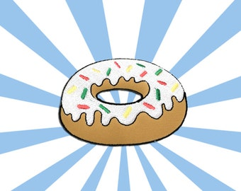 White Doughnut Iron on Patch(L1) - Donut Applique Embroidered Iron on Patch Size 7.9x5.6 cm