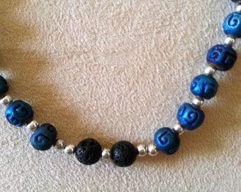 Essential oil diffuser necklace, Blue Raku