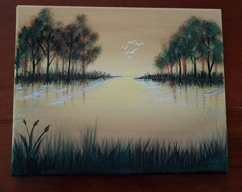 Painting, Golden Lake, Original Painting,  Acrylic Canvas, Amateur Art