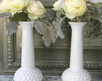Milk Glass Bud Vases  / Pair of Matching Hobnail Milk Glass Vases / E O Brody Bud Vases