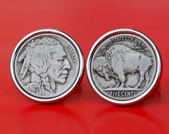 A Pair of US 1927 Indian Head Buffalo Nickel 5c Silver Plated Cufflinks NEW