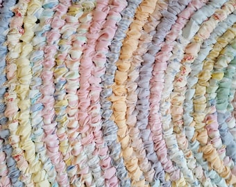Deposit for Made to Order Handmade Rag Rug - Pastel Colors - 4 Feet Across - Photo is Display Only
