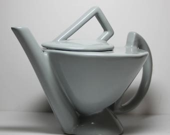 Signed Charles Nalle Ceramic Tea Pot- Slate Gray-Abstract/1980s Deco
