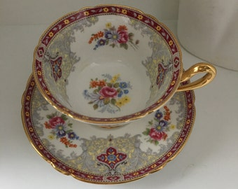 Shelley Georgian Cup and Saucer, pattern no. A 13363. Red and Gold Trim w/ Flower Bouquets