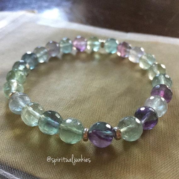 Stackable Mala Inspired Faceted Fluorite Spiritual Junkies Yoga and Meditation Bracelet (single bracelet)