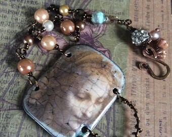 Temporary RESERVED Lady In Pearls....Artisan Cuff, Orginal Art, French, Rustic Assemblage, Wirewrapped, Only One, JustSlightlyVintage