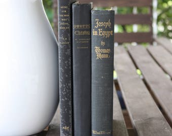 Black Books, Vintage Books, Decorative Books, Antique, Vintage Collection, Book Décor, Wedding Decor, Home Decor, Centerpiece, Office Décor