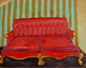 Bright Red Fancy Victorian Couch Small Oil Painting
